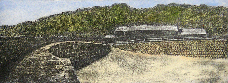 10P.SocAA 11 2017 The Cobb at Lyme hand-coloured etching £220 BLOG