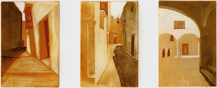 blog 15 Arcos, Spain 3 plate etching 12x 8 cm each plate ed.VE 5 £220BLOG