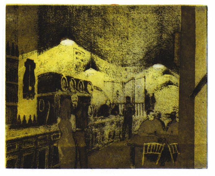 CAH La Venencia Madrid 2 colour etching 9 x 12cm