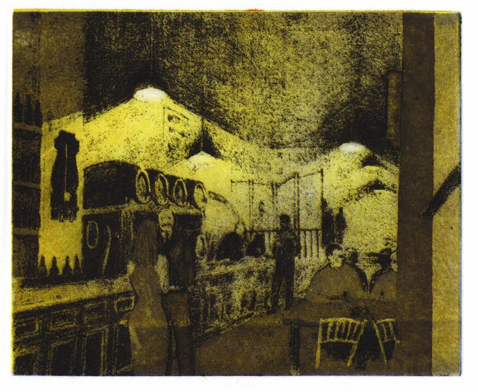 CAH La Venencia Madrid 2 colour etching 9 x 12cm