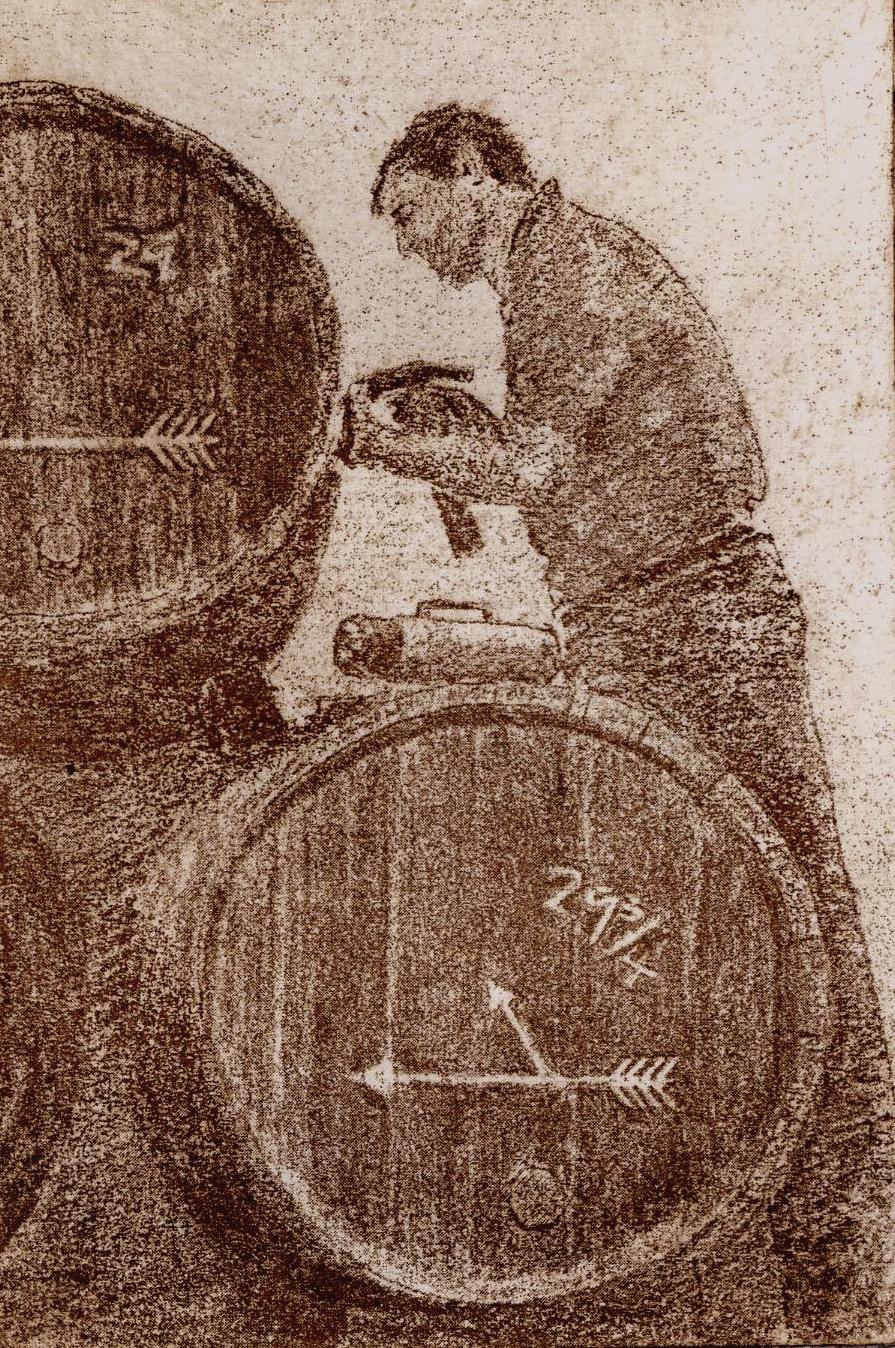 Spanish journey part 1 Mending casks at Lustau 11.5 x 8 cm