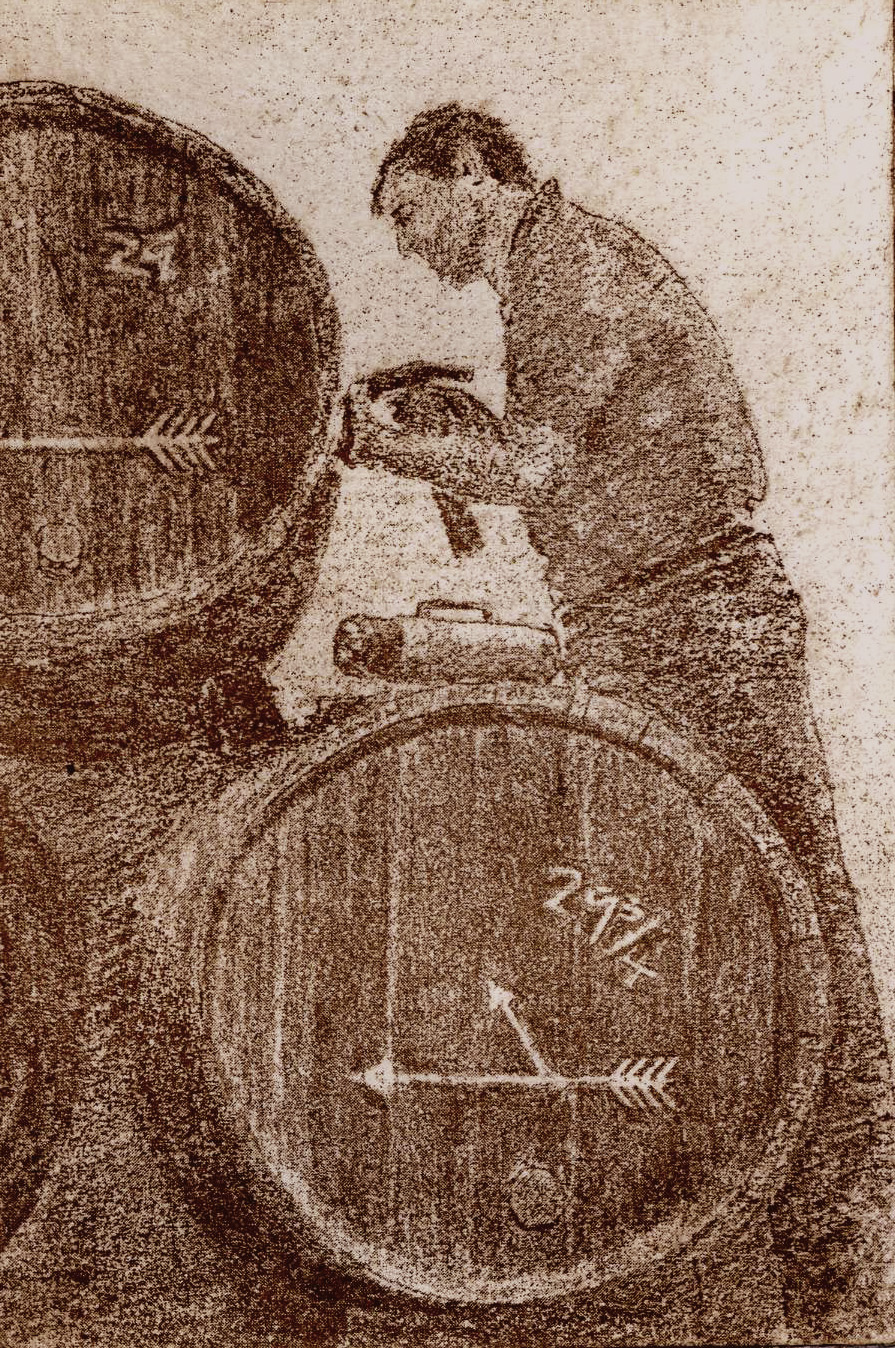 Spanish journey part 1 Mending casks at Lustau 11.5 x 8 cm