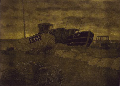 Hastings state 6 monoprint 1 plate wiped in black and rolled in yellow 72dp