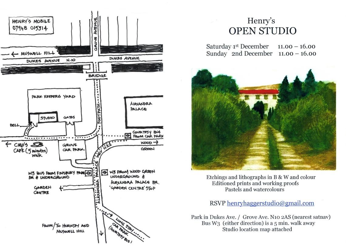 Open Studio 2018 invite and map